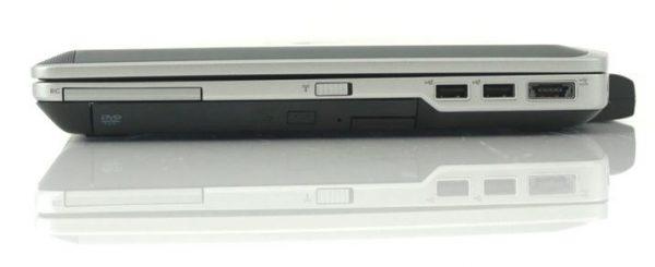Cổng kết nối trái Dell Latitude E6420 Bên phải máy: 54 mm ExpressCard, nút baath tắt Wi-Fi, DVD-ROM, USB 2.0 x 2, USB 2.0 / eSATA Combo